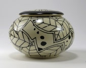 CLEARANCE - 40% off - was 60 now 36  Ceramic Urn in Black and White, Lidded Vase