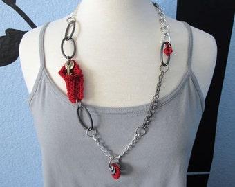 "Fiberpunk™ Necklace - Red - Long 15"" / Fiber Jewelry / Crochet Jewelry / Tatted Jewelry"