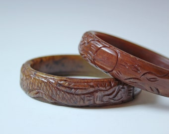 2 hard stone Asian Chinese brown carved bangles