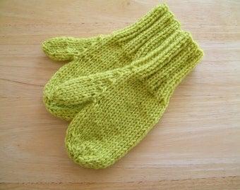 Child Wool Mittens Small Hand Knit Lemon Grass
