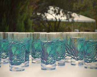 Peacock Glasses - 12 Peacock Feather Wedding Glasses - Peacock Wedding, Water Glasses, Drinking Glasses, Glassware, Glasses