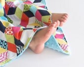 Baby Girl Security Blanket Technicolor Cubix Lovey with Minky for Toddler Baby Girls