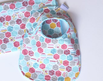 Gift Set with Minky Unforgettable Hexi Blue Bib and Burp Cloth for Baby Girl