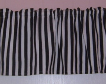 STRIPE VALANCE - BLACK and Off white