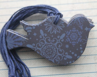 11 Winter themed tags Bird shaped Tags Dark Blue with snowflake patterned paper over chipboard