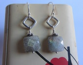 Labradorite Sterling Silver Earrings: Dangle Faceted Squares on Square Silver Jump RIngs