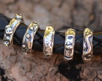 Sterling Silver Skinny Slider Beads, Set of 5