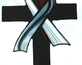 Hand Made Stained Glass Cross with Grey Baroque Ribbon for Brain cancer awareness
