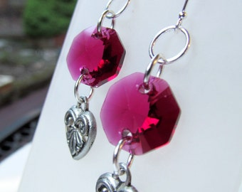 Pink Crystal and Hearts Sterling Silver Earrings