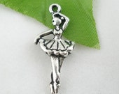 20 Silver Tone Dancing Girl Charms Pendants 31x13mm