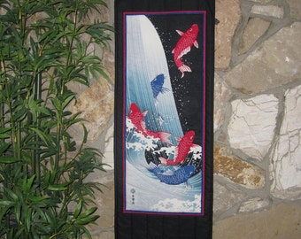 Quilted Wall Hanging Koi at Dragon Gate Falls Japanese Asian Design Scroll Size