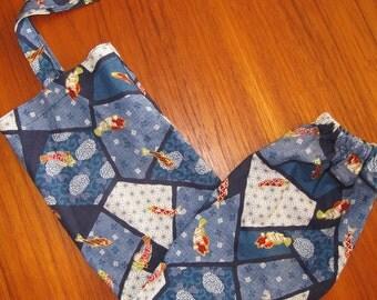 Grocery Store Plastic Bag Dispenser Asian Japanese Fabric Fish Sakana Design Blues