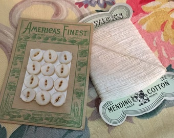 Antique Carded White Buttons and White Darning Thread on Original Cards  Antique Sewing Antique Buttons and Thread