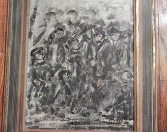Vintage Oil Painting . Abstract Impressionism . Lots of People