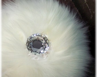 Luxury Natural Merino Wool Body Powder Puff with Faceted Crystal Handle, Purple/pink or Clear