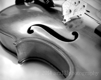 Music Art Violin Black and White Photography Print Large Wall Art Home Decor - 20x20 inch Fine Art Photography Print