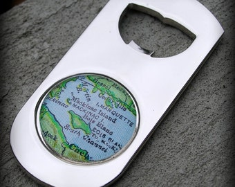 Mackinac Island Map Bottle Opener