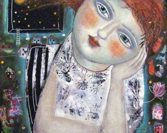 SPECIAL PRICE FREE Shipping Mixed Media Painting  Print  Modern Folk  Heart Daydream