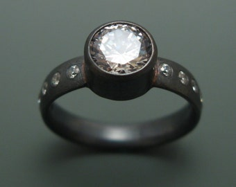 Oxidized or Shiny Sterling Silver and CZ Engagement Ring