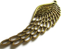 100.5 mm Very Large Filigree Wing Pendant Antique Bronze Alloy Wing Pendant