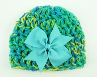 BABY BEANIE HAT Aqua Teal Yellow Newborn Infant Photo Prop Crochet Girl Baby Shower Gift Hair Bow