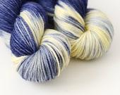 Hand Dyed Worsted Yarn - Starry Starry Night - Superwash Merino 218 Yards - Dark Semi-Solid Blue
