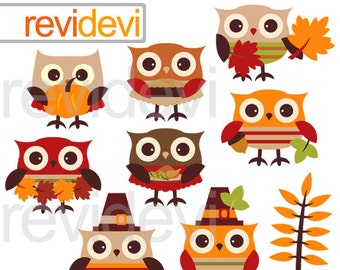 Clipart Thanksgiving Owls / Autumn, Fall seasons owl clip art / digital images / 08146