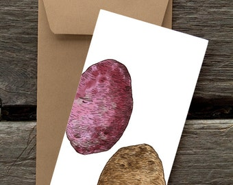 Potatoes  - 8 Blank flat notecards and envelopes
