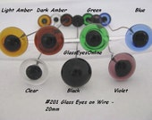 1 PAIR 20mm or 22mm or 24mm Glass EYES on Wire Transparent Colors for teddy bears, dolls, Ooaks, Sculpture, Polymer Clay, Carving ( 201 )