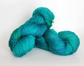EMERALD, cosmic blue label hand dyed sparkle sock yarn