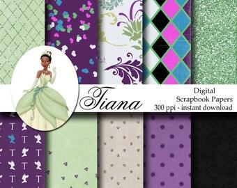 Disney Princess Tiana Digital Scrapbook Background Papers - 12x12 - Tiana Party - INSTANT DOWNLOAD