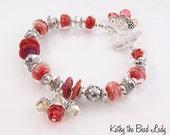 SALE****Lampwork Bracelet -Lampwork Boro Bali Sterling Silver Swarovski Crystal Bead Bracelet - KTBL