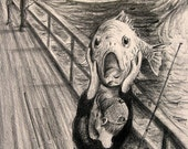 The SCREAM Funny Fish Pencil Parody Drawing Art Print by Barry Singer