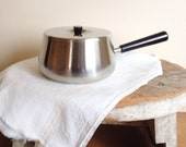Vintage Saucepan with cover,  Mid Century Fondue Pot,  Covered Stainless Steel Sauce Pot  Inox from Switzerland