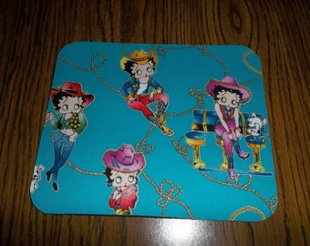 Mouse Pad, Betty Boop, Mouse Pads, Cowgirl, Desk Accessory, Office Decor, Handmade, Gift, MousePad, Rectangle, Mouse Mat, Computer Mouse Pad