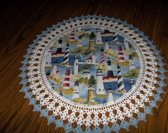 Crocheted Lighthouse Doily 20 inches Fabric Center Crocheted Edge