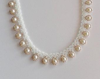 Handmade cream pearls dressy teardrop beaded choker necklace