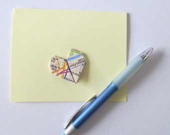 Origami Card With A Map Heart  - Blank Inside