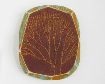 Modern Wood Wall Art, Modern Pyrography, Algae, Colorful Geometric Art, Faceted Wood, Wood Burning
