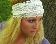 White Lace Headband / Bridal Lace Headband / Stretch Lace/ Comfortable Hairband/ 5 inch Lace Head Piece- Women's Gift Best Selling Headband