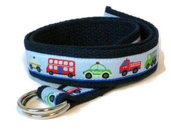Boys Belt in Blue / Toddler Belt Car Babies Belt Truck Canvas Belt / Navy D-ring Belt - Trucks and Cars - Boys Gift