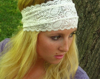 White Lace Headband / Bridal Lace Headband / Stretch Lace/ Comfortable Hairband/ 5 inch Lace Head Piece- Women's Gift Best Selling Headband