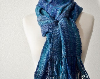 Wool & Linen Scarf in Blues - Handwoven Scarf in Soft Merino Linen Blend Handspun Yarn. Rustic, Chic, Woodland, Forestry, Fringe. Oceanic