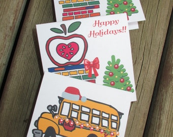Teacher and bus driver mini Christmas greeting cards, assorted, printable, holiday, greetings, gift, cards, tags