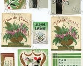 9 Vintage French Perfume Labels in Gold and Green Original Ephemera