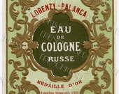 Russian Cologne French Perfume Label Art Nouveau Lorenzy-Palanca