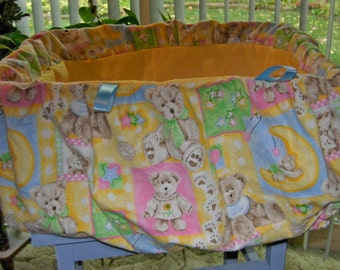 Pastel shapes and teddy bears shopping cart cover for baby or toddler boys or girls.