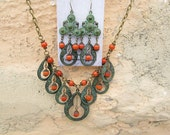 Statement necklace green Bohemian necklace Gift for Wife Burnt Orange Boho Bohemian jewelry