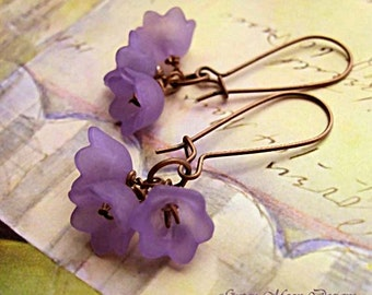Purple Flowler earrings coworker gift for her Stocking Stuffer Floral dangle drop earrings