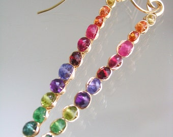 Rainbow Sticks, Gemstone Gold Fill Linear Earrings, Slender, Prismatic Stems, Sapphire, Amethyst, Tsavorite, Original Design
